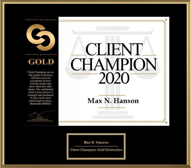 "Black electronic plaque with black and gold lettering that reads ""Client Champion 2020 - Max N. Hanson"""