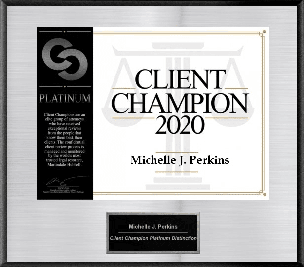 "Silver electronic plaque with black lettering that reads ""Client Champion 2020"""