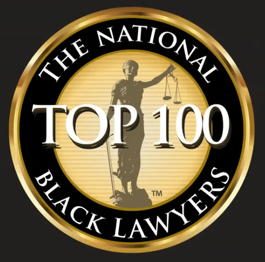 "Black bacground with Gold logo and white lettering that reads ""The national Top 100 Black lawyers"""