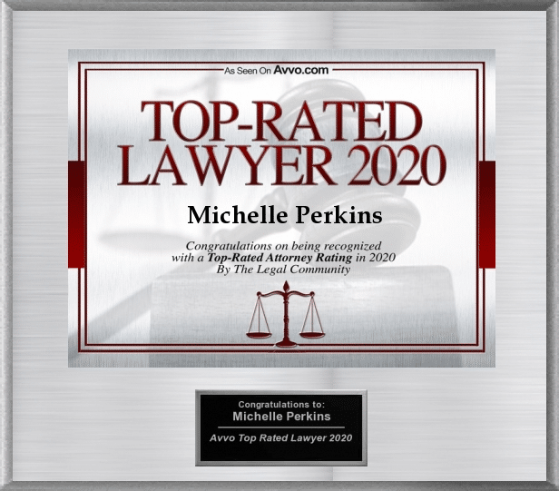 "Silver electronic plaque with red lettering that reads ""Top-rated Lawyer 2020 Michelle Perkins"""