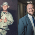 Side by side photos of a white male, in a military uniform on the left, in a suite and tie on the right